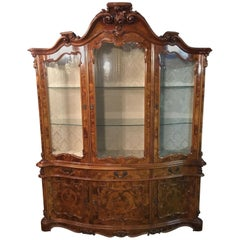 Baroque Style Showcase 3 Sides Glazed with Root Wood Veneer
