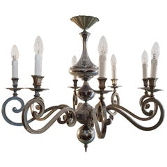 Baroque Style Silver Chandelier Made in Italy, circa 1950