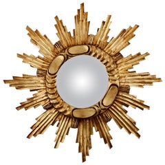 Baroque Style Sunburst Wall Mirror, Gilt Carved Wood, Italy