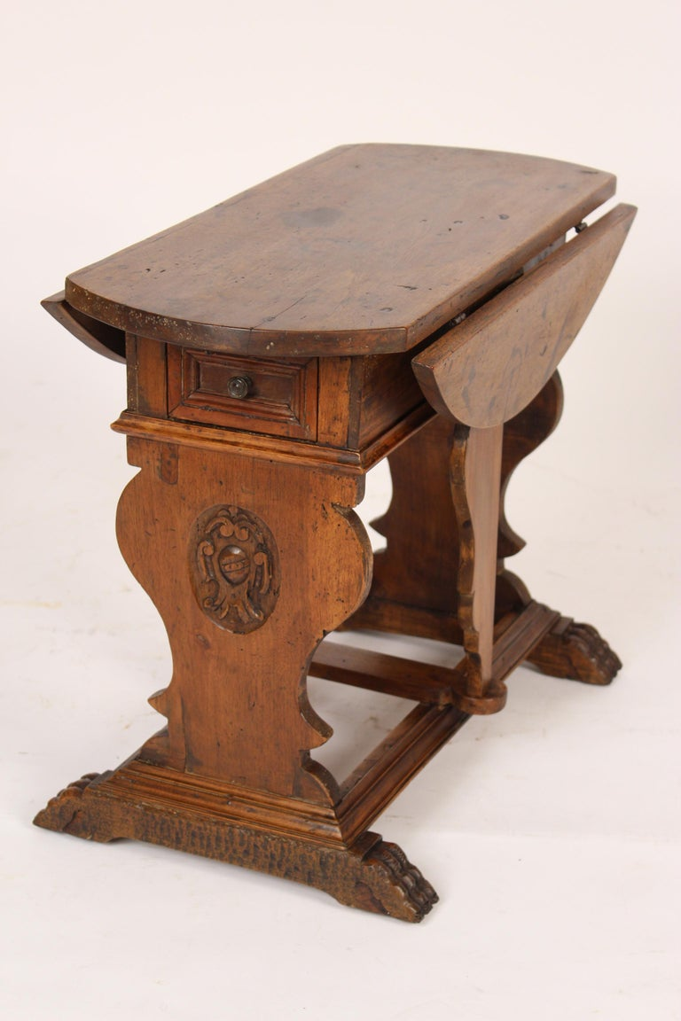 Italian Baroque Style Walnut Drop-Leaf Occasional Table For Sale