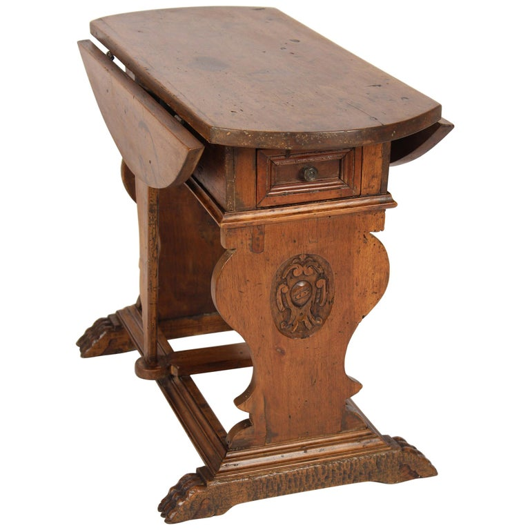 Baroque Style Walnut Drop-Leaf Occasional Table For Sale