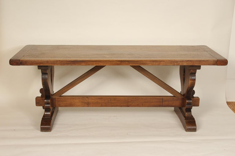Baroque style walnut plank top dining room table, mid-20th century. The top has nice color and is 2.25