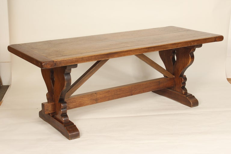 Unknown Baroque Style Walnut Plank Top Dining Table For Sale