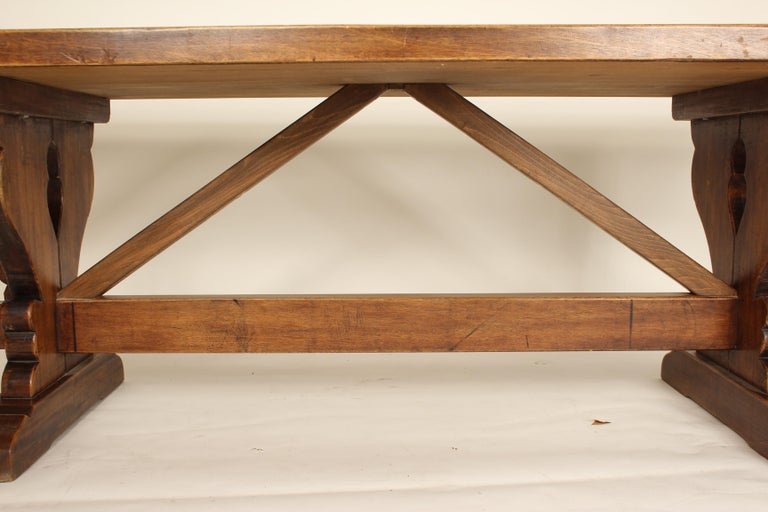 Baroque Style Walnut Plank Top Dining Table For Sale 2