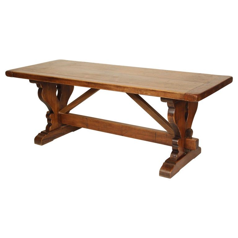 Baroque Style Walnut Plank Top Dining Table For Sale