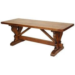 Baroque Style Walnut Plank Top Dining Table