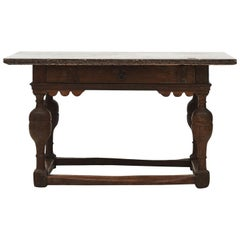 Baroque Table in Oak Tree and with Öland Limestone Top, circa 1750