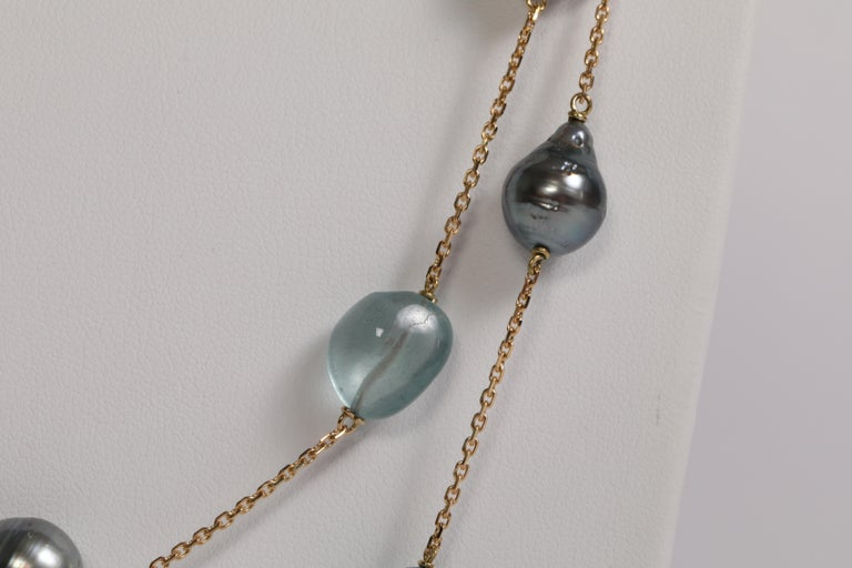 Contemporary Baroque Tahiti Pearls and Aquamarine Long Necklace Created by Marion Jeantet For Sale