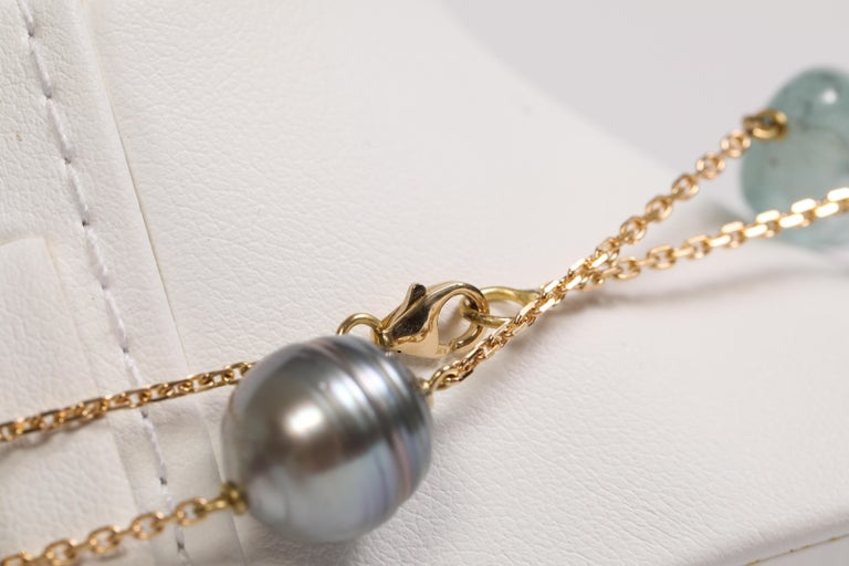 Women's Baroque Tahiti Pearls and Aquamarine Long Necklace Created by Marion Jeantet For Sale