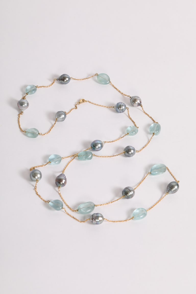 Baroque Tahiti Pearls and Aquamarine Long Necklace Created by Marion Jeantet For Sale 1