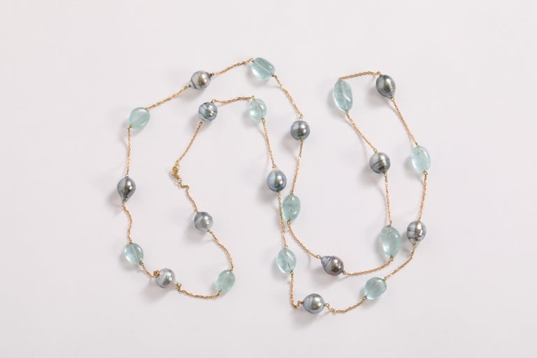 Baroque Tahiti Pearls and Aquamarine Long Necklace Created by Marion Jeantet For Sale 2