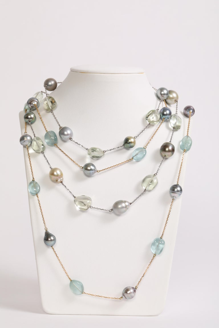 Baroque Tahiti Pearls and Aquamarine Long Necklace Created by Marion Jeantet For Sale 3