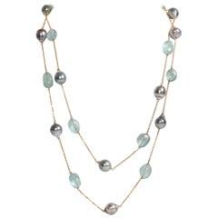 Baroque Tahiti Pearls and Aquamarine Long Necklace Created by Marion Jeantet