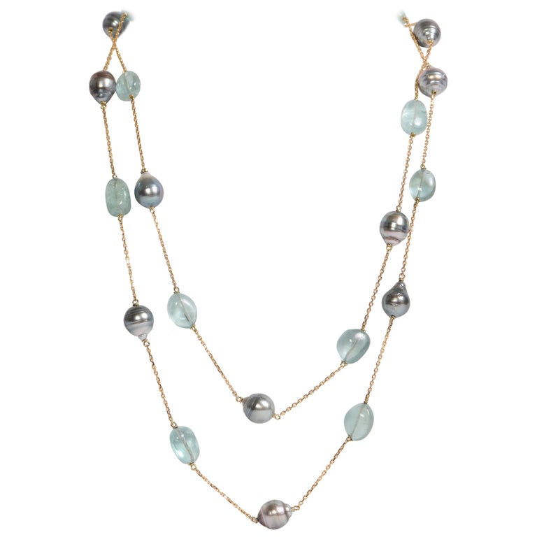 Baroque Tahiti Pearls and Aquamarine Long Necklace Created by Marion Jeantet For Sale