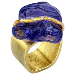 Baroque Tanzanite, Diamond and Gold Cocktail Statement Ring