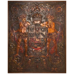 Baroque Tooled Leather Panel, Origin: Germany, Circa 1740
