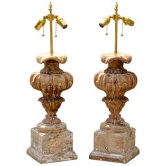 Baroque Urn Form Lamps of Pine, a Pair