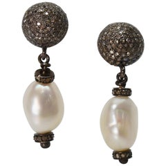 Baroque White Akoya Pearl Sterling Silver Diamond Drop Earrings