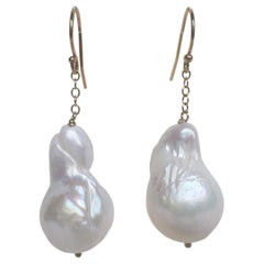 Marina J Baroque White Pearl Dangle Earrings with 14 K Yellow Gold Chain & Hook