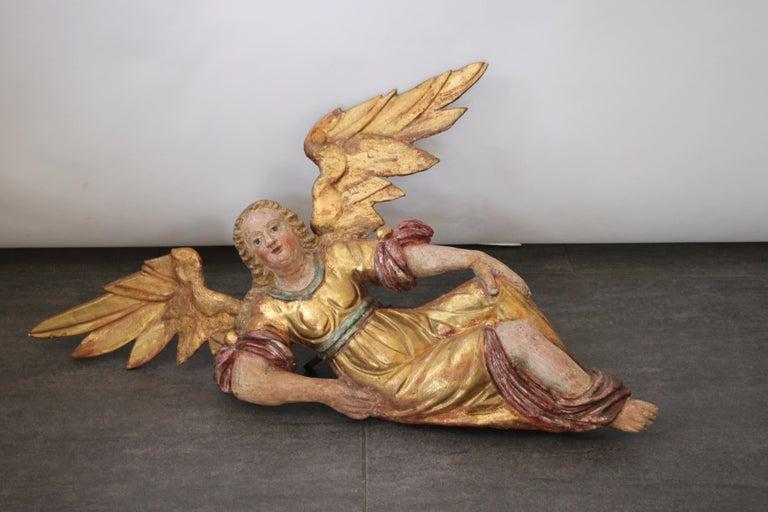 Austrian Baroque Wooden Angel, 17th Century For Sale