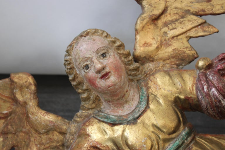 Hand-Carved Baroque Wooden Angel, 17th Century For Sale