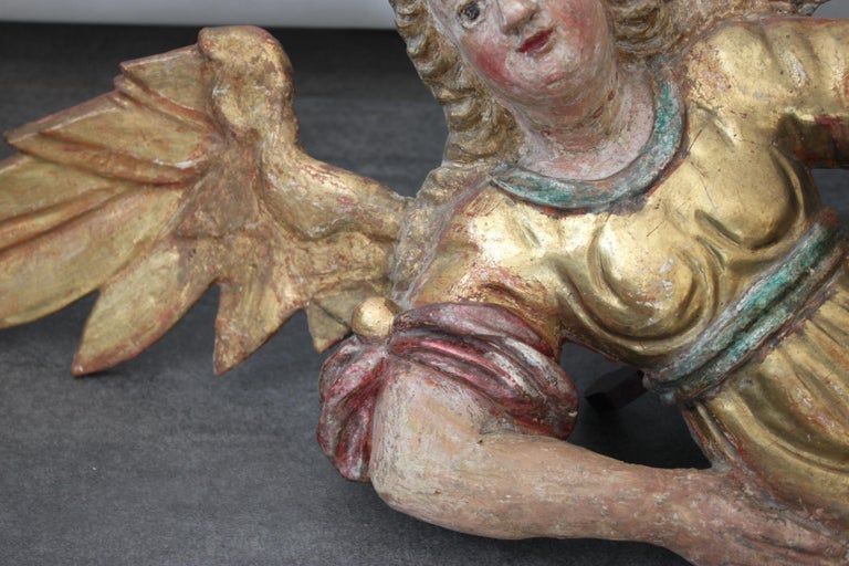 Baroque Wooden Angel, 17th Century For Sale 2