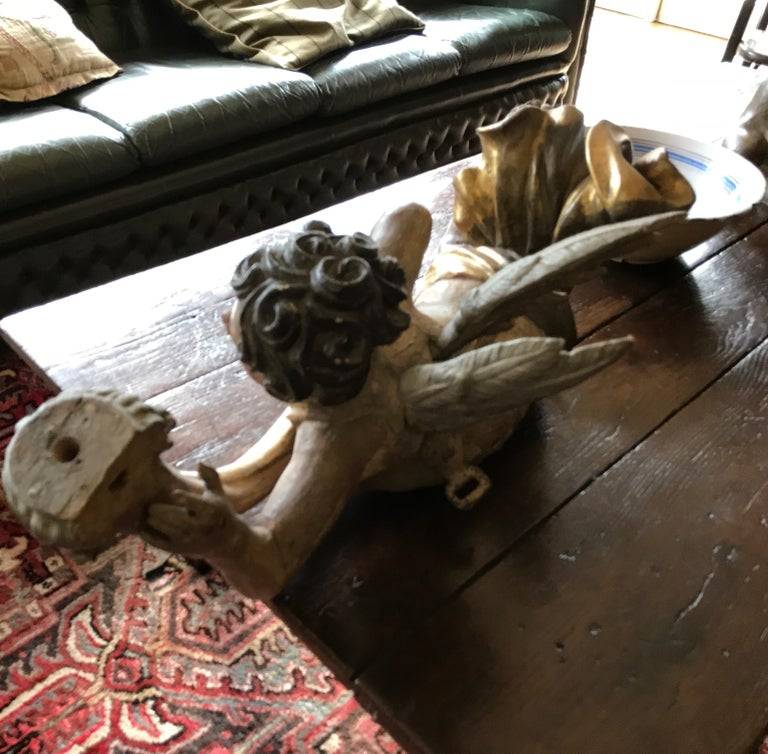 18th Century and Earlier Baroque Wooden Polychrome Angel, 17th Century For Sale