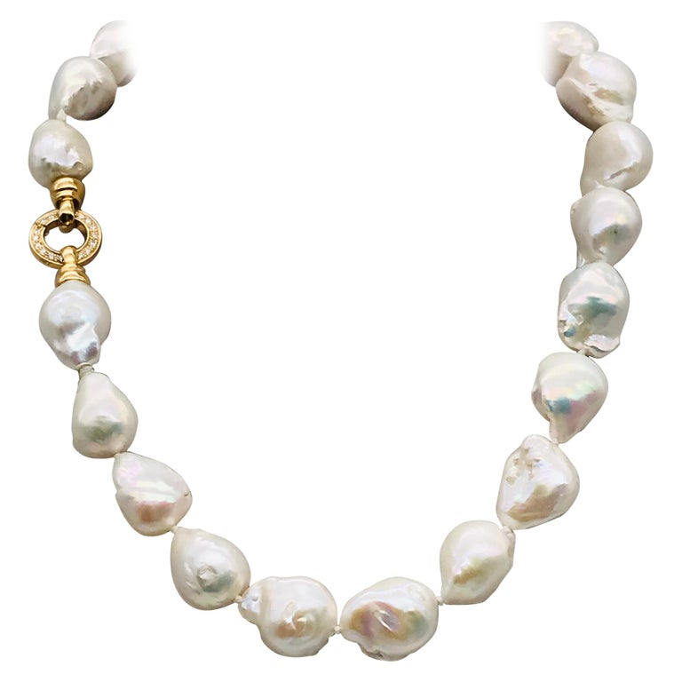 Baroques Pearls Necklaces with Gold and Diamonds Clasp For Sale
