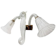 Barovier & Toso Murano Glass Sea Horse Wall Sconce