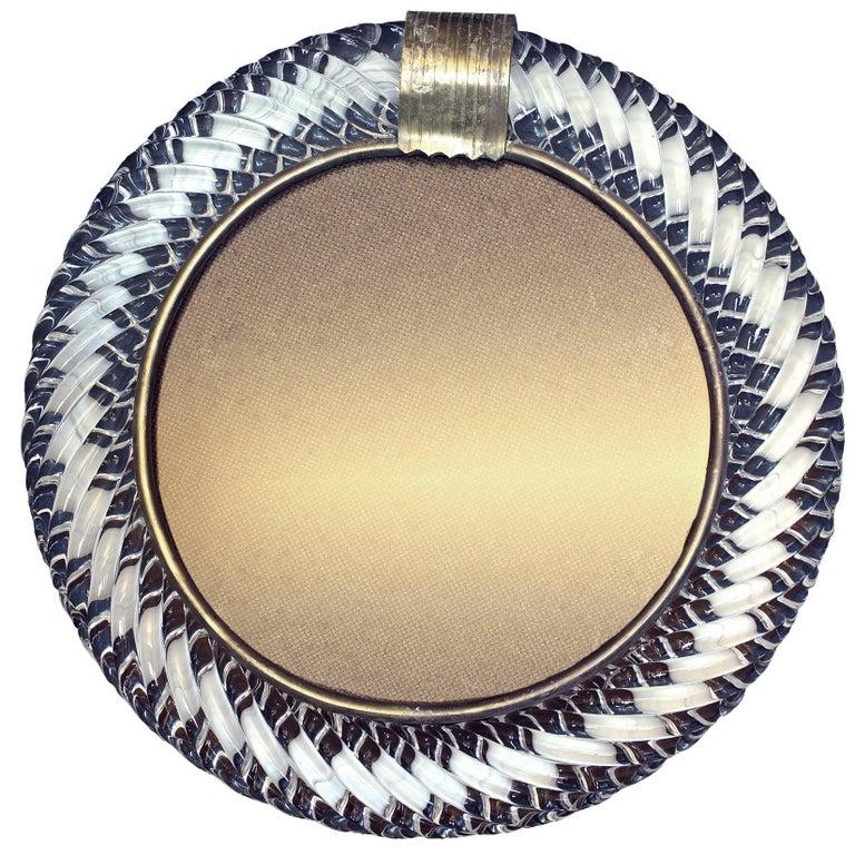 Barovier & Toso Photo Frame in Murano Glass, with Silver Filigree, circa 1950
