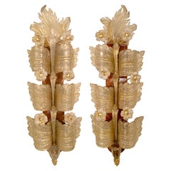 Barovier and Toso Sconces 'Grand Hotel' Model Murano Glass a Pair