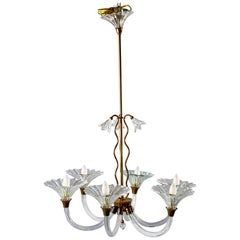 Barovier and Toso Six-Arm Chandelier with Brass Fittings