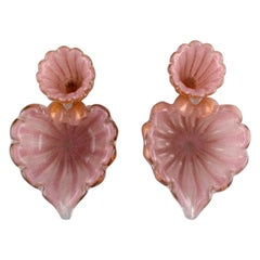 Barovier and Toso, Venice, a Pair of Organically Shaped Bowls in Pink Art Glass
