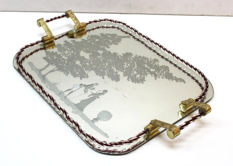 Barovier Attributed Hollywood Regency Murano Glass Mirrored Serving Tray For Sale 1