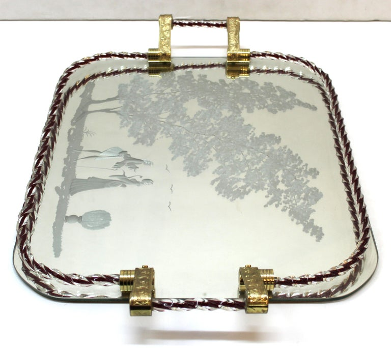 Barovier Attributed Hollywood Regency Murano Glass Mirrored Serving Tray For Sale 2