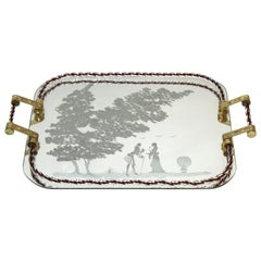 Barovier Attributed Hollywood Regency Murano Glass Mirrored Serving Tray