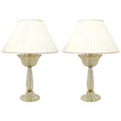 Barovier Attributed Hollywood Regency Murano Gold Flecked Ribbed Table Lamps