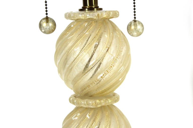 20th Century Barovier Attributed Hollywood Regency Style Italian Murano Glass Table Lamps For Sale