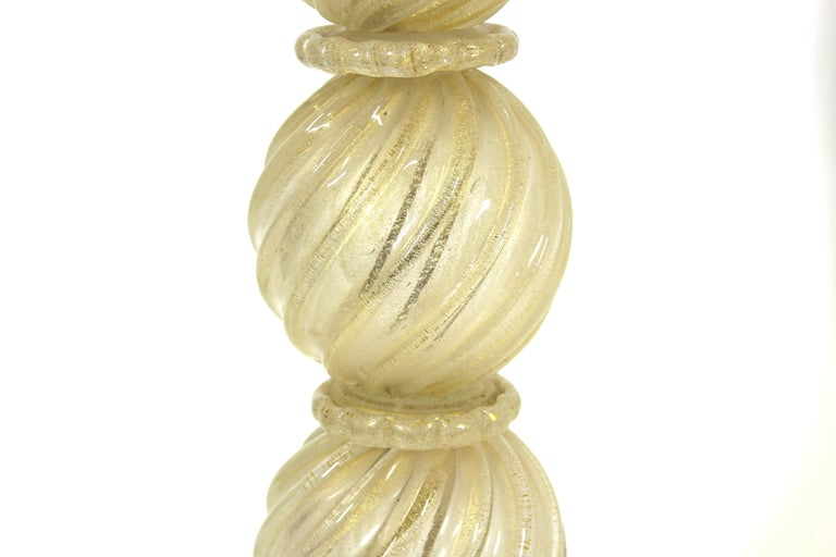 Barovier Attributed Hollywood Regency Style Italian Murano Glass Table Lamps For Sale 1