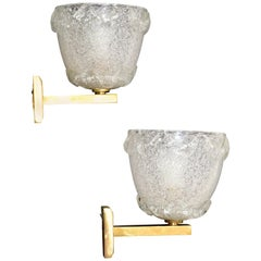 Barovier Blown Murano Glass & Brass Wall Sconces Italy Mid-Century Modern, Pair
