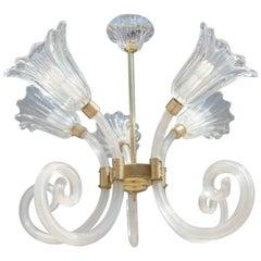 Barovier Chandelier Murano Glass Mid-Century Modern Flowers Brass, 1950