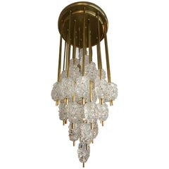 Diamant Brass and Clear Textured Glass Chandelier style of Barovier e Toso