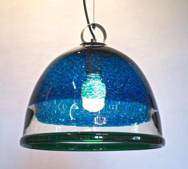Barovier e Toso Incalmo Hängeleuchte Blau Murrine Neverrino Stil und Grüner Rand 11