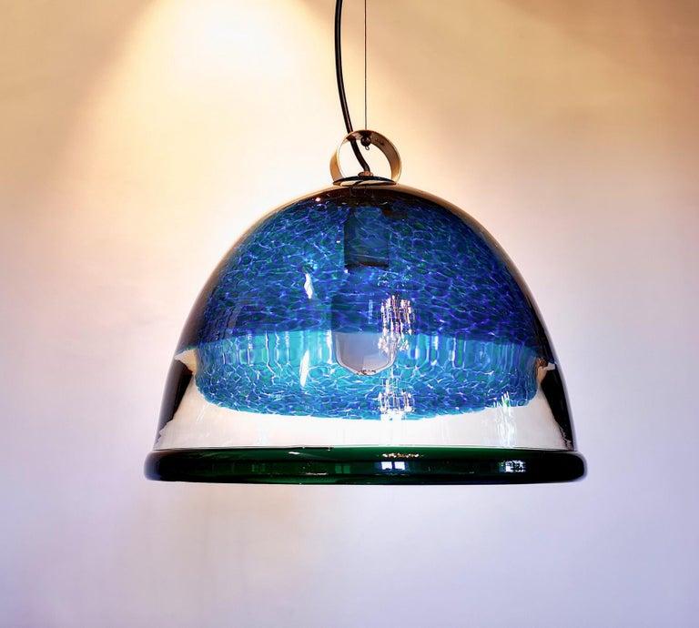 Barovier e Toso Incalmo Hängeleuchte Blau Murrine Neverrino Stil und Grüner Rand 18
