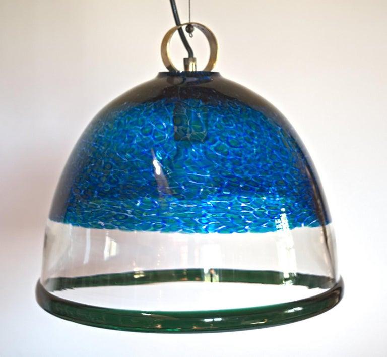 Barovier e Toso Incalmo Hängeleuchte Blau Murrine Neverrino Stil und Grüner Rand 3
