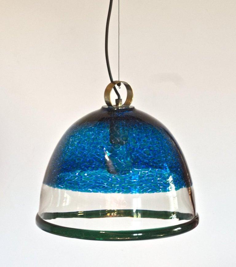 Barovier e Toso Incalmo Hängeleuchte Blau Murrine Neverrino Stil und Grüner Rand 8