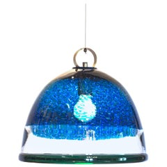 Barovier e Toso Incalmo Pendant Blue Murrine Neverrino Style and Green Rim