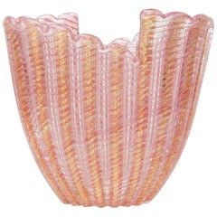 Barovier e Toso Murano Art Glass Ribbed Pink and Gold Vessel