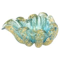 Barovier e Toso Murano Cordonato d' Oro Sea Mist Turquoise and Gold Glass Bowl