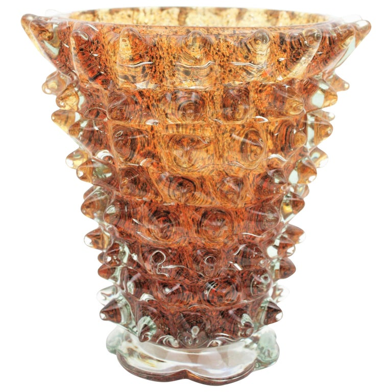 Barovier e Toso Murano amber and brown Rostrato glass vase, Italy, 1930s A monumental Art Deco amber Murano art glass vase made with rostrato technique by Ercole Barovier for Barovier e Toso. This piece, unusual in this amber color has millions of